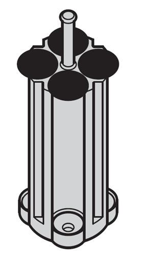 Adapter voor 85ml rond bodem voor 4 rondbodem buizen (05424009)