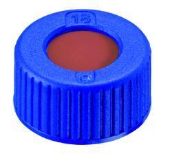 Schroefdop N9 PP blauw met boring, septum rubber/FEP, (41008228)