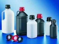 Fles 500 ml HDPE, NM vierkant zwart, GL45 z. dop (34270096)