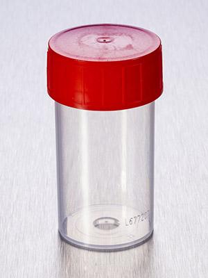 Container 60 ml PP bestraald  met rode schroefdop