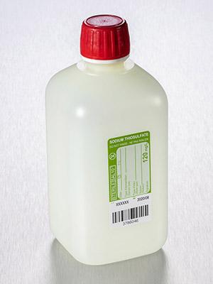 Fles 500 ml, HDPE, vierkant +60mg/l Natrium Thiosulfaat (37359005)