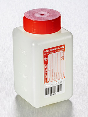 Fles 250ml HDPE, vierkant met 5mg Na Thio, steriel (37363003)