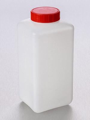 Fles 2 l, HDPE vierkant, gegr. rode schr. dop, prop, steriel (37375078)