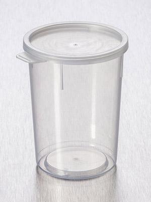 Container 200 ml PP, gegrad. m  deksel, bestr. gemonteerd