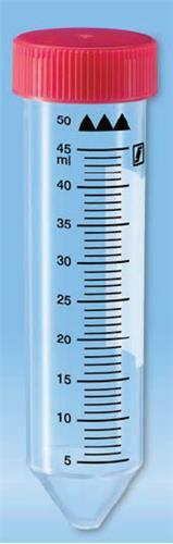 Centrifugebuis 50 ml, PP ster. 114x28 mm, rode dop, conisch (38147254)