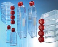Cultuurfles 250 ml, PS, 75 cm m. rode dop, steriel verpakt (38258175)