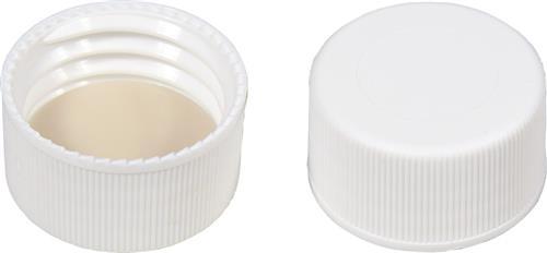 Schroefdop N24 PP, wit, helder inlage silicon wit, PTFE beige (45302064)