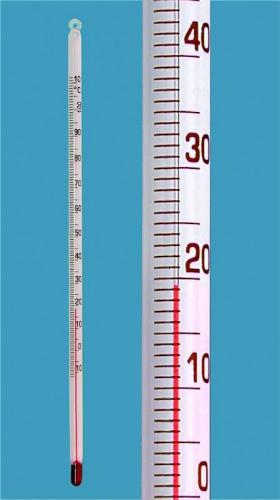 Staafthermometer -10 -+110:1°C rood gevuld, lengte 200 mm (29011580)
