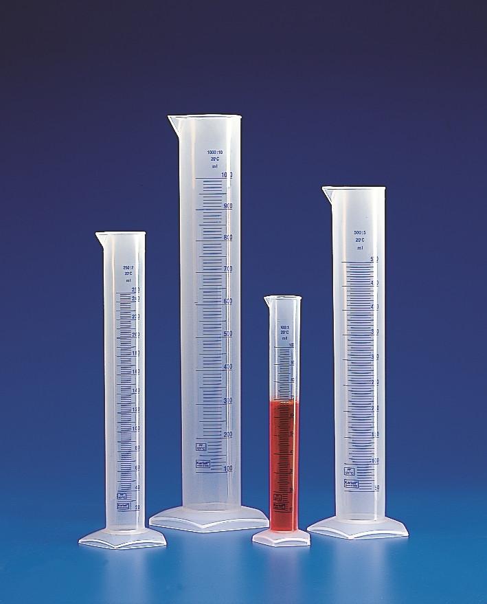 Maatcilinder 25 ml, PP, hoog model blauwe graduering, tuit (33302561)