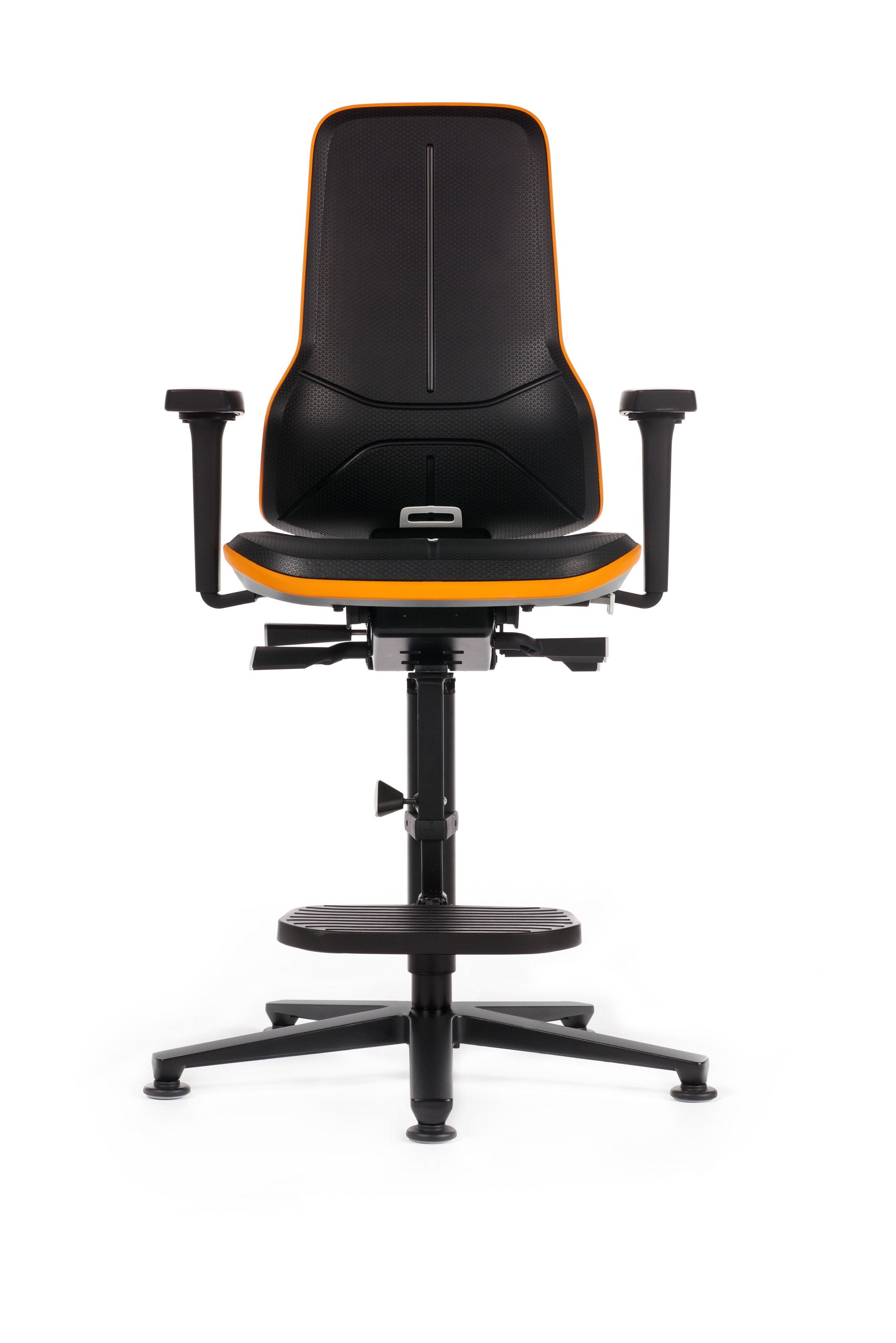 Neon 3 stoel, flexband oranje,  kunstleder,besch.hoes,voetring