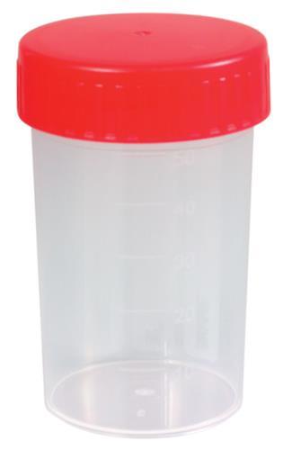 Schroefpotten PP, 60 ml rood deksel, steriel (LLG6258714)