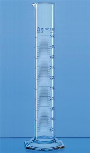 Maatcilinder 25 ml Boro-glas kl. A, met tuit 6-kant voet (40532820)