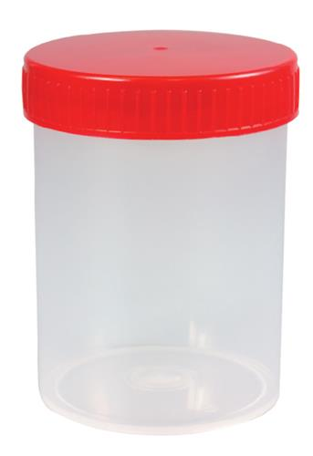 Schroefpotten PP, 200 ml rood deksel, steriel (LLG6262099)