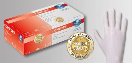 Onderzoekshandschoenen Comfort latex maat L (8-9), poedervrij (LLG9405238)