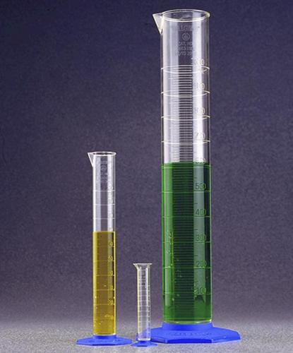 Maatcilinder 1000:10 ml, PP transparant, met blauwe voet (LLG9274937)