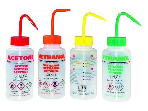 Veiligheidsspuitfles 500ml,  met opdruk Aceton, LDPE, rood (41661904)