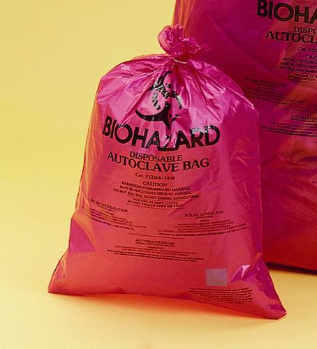 Afvalzakken Biohazard, PP 480x580 mm, oranjerood, extra  (LLG9404013)