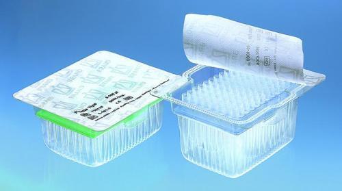 Bio-cert<sup>&reg;</sup> filtertips gepalleteerd in rekken TipRack 0,1 - 1 µl